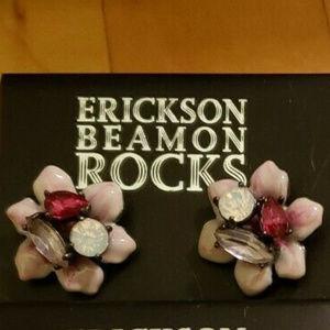 ERICKSON BEAMON ROCKS ORCHID FLOWER EARRINGS**NWT